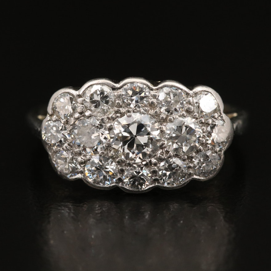 Vintage Platinum, 18K and 14K 1.30 CTW Diamond Ring