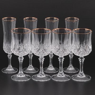 "Cristal D'Arques-Durand ""Longchamp Gold"" Goblets and Flutes"
