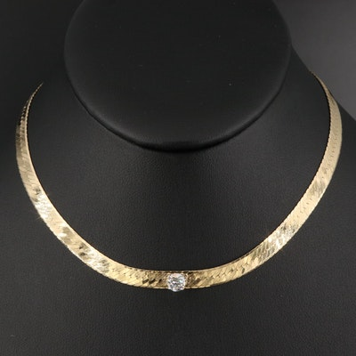Italian 14K Diamond Herringbone Chain Necklace