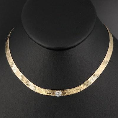 Italian 14K Diamond Herringbone Chain Necklace