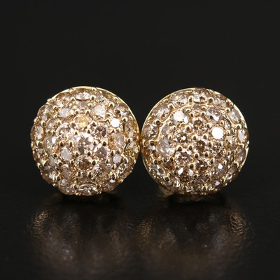 14K 1.98 CTW Diamond Cluster Dome Earrings