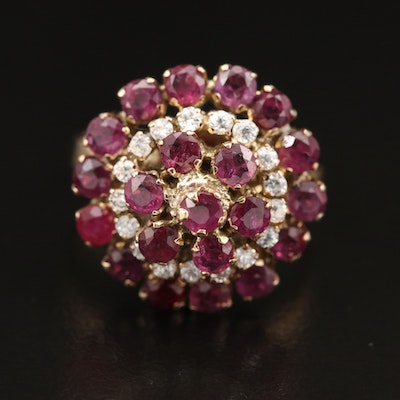 14K Ruby and Cubic Zirconia Tiered Ring