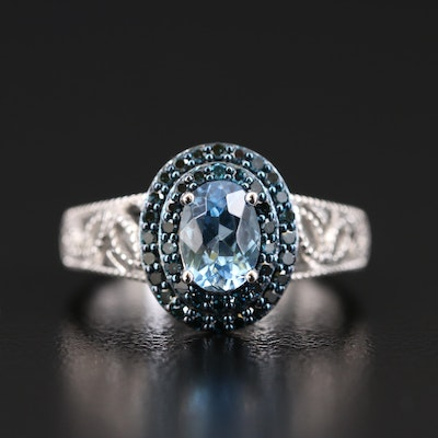 14K Aquamarine and Diamond Double Halo Ring with Openwork Shoulders