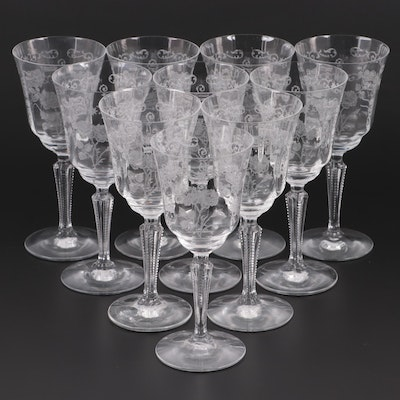 "Fostoria ""Midnight Rose"" Etched Glass Goblets, Mid-20th Century"
