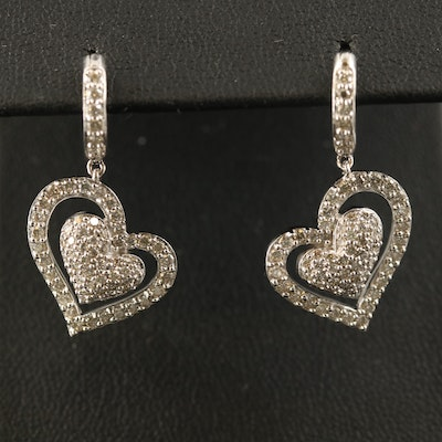 18K Pavé 1.18 CTW Diamond Heart Drop Earrings