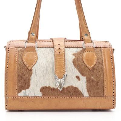 Tooled Leather Handbag with Calf Hair Panels