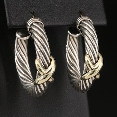 "David Yurman Sterling Silver Cable Hoop Earrings with 14K ""X"" Accent"