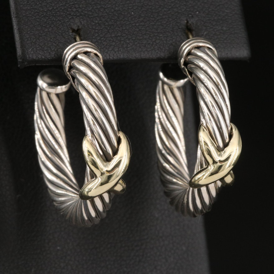 """David Yurman Sterling Silver Cable Hoop Earrings with 14K """"X"""" Accent"""