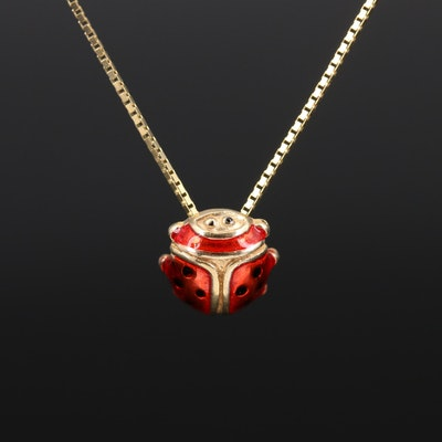 14K Enamel Ladybug Necklace