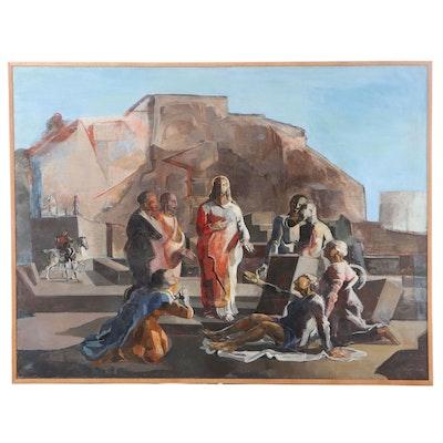 """Jacques Despierre Oil Painting """"Le Christ Guérissant les Malades,"""" 1941"""