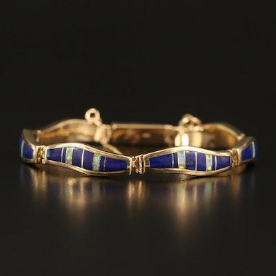 14K Lapis Lazuli and Opal Inlay Bracelet