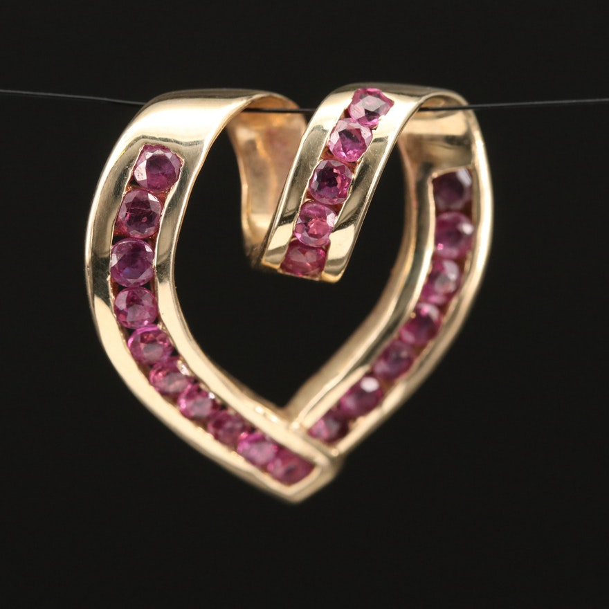 10K Heart Slide Pendant with Channel Set Rubies