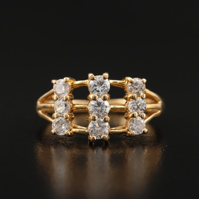 18K Cubic Zirconia Multi-Row Ring