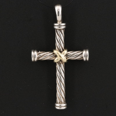 David Yurman Sterling Silver Cross Pendant with 18K Accent