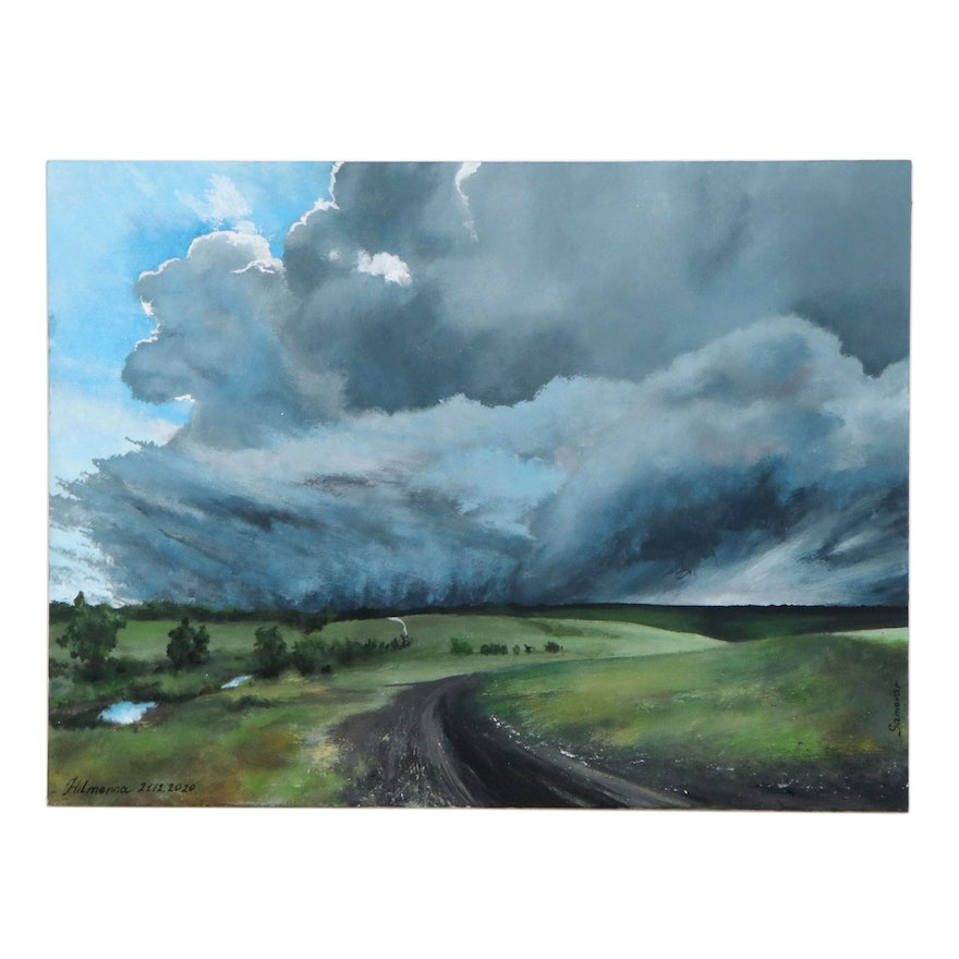 Hilmenna Acrylic Painting of Country Road Through Cloudy Landscape, 2020