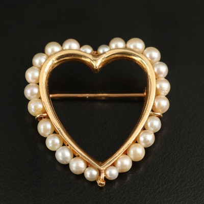 14K Pearl Heart Brooch
