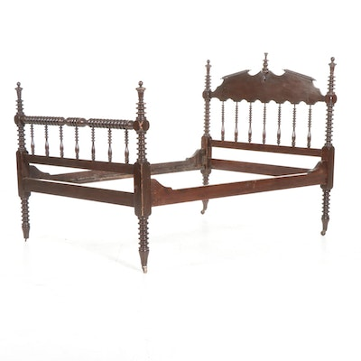 Victorian Full Size Spool-Turned Walnut Bed Frame, Late 19th Century