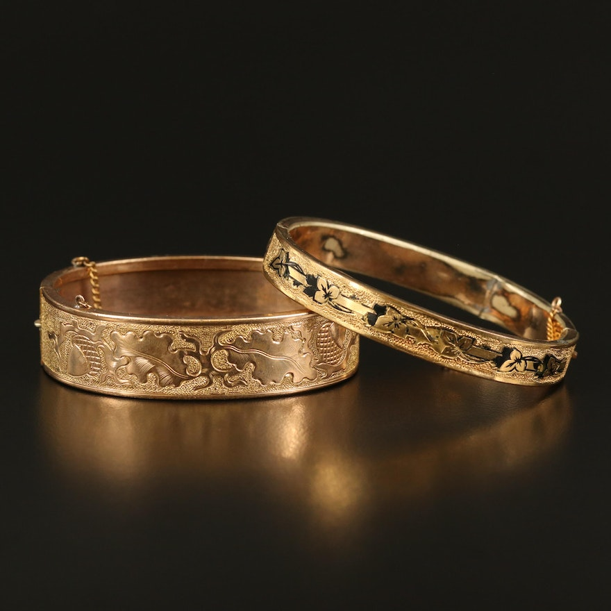 Mid-Victorian Foliate Engraved Bangles with Enamel