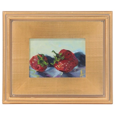 Anne Thouthip Still Life Acrylic Painting of Strawberries