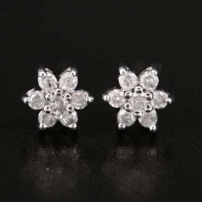 14K Diamond Flower Earrings