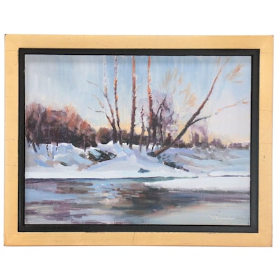 Shane Harris Winter Landscape Oil Painting, 2021