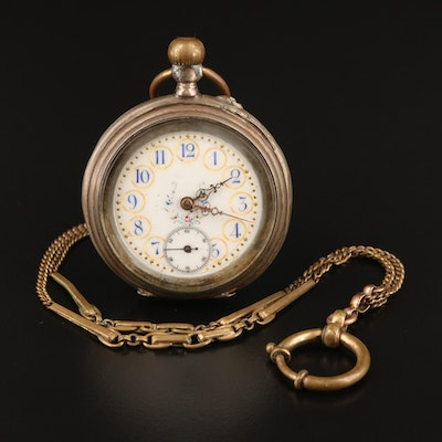 Vintage 800 Silver Eclipse Pocket Watch