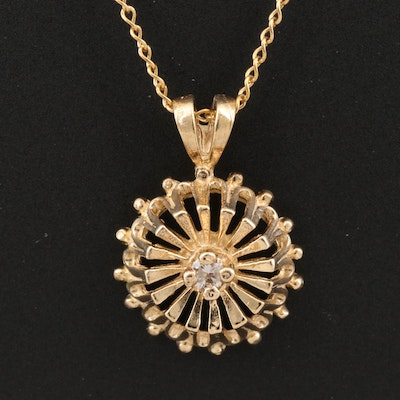 14K Diamond Openwork Pendant Necklace