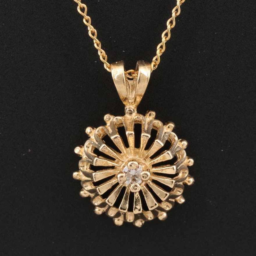 14K Diamond Openwork Pendant Necklace