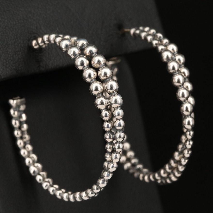 Michael Dawkins Sterling Silver Double Beaded Hoop Earrings