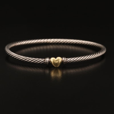 David Yurman Sterling Cable Heart Bracelet with 18K Heart Accent
