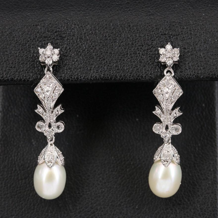 14K Pearl and Diamond Earrings with Milgrain Details