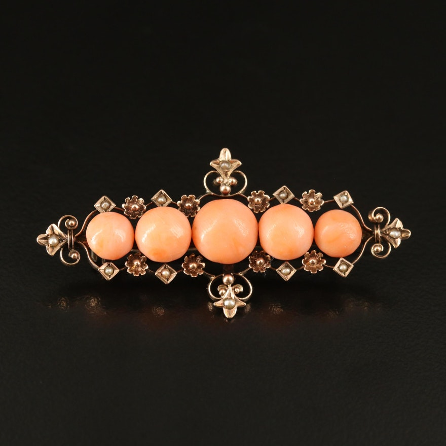 Victorian 8K Coral and Seed Pearl Brooch
