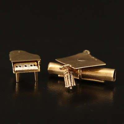 14K Piano and Graduation Cap Charms