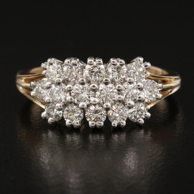 14K 1.02 CTW Diamond Triple Row Ring