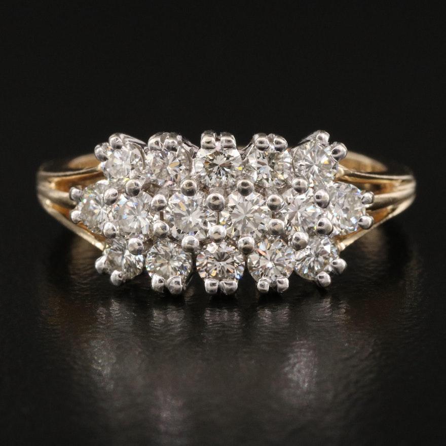 14K 1.02 CTW Diamond Triple Row Ring