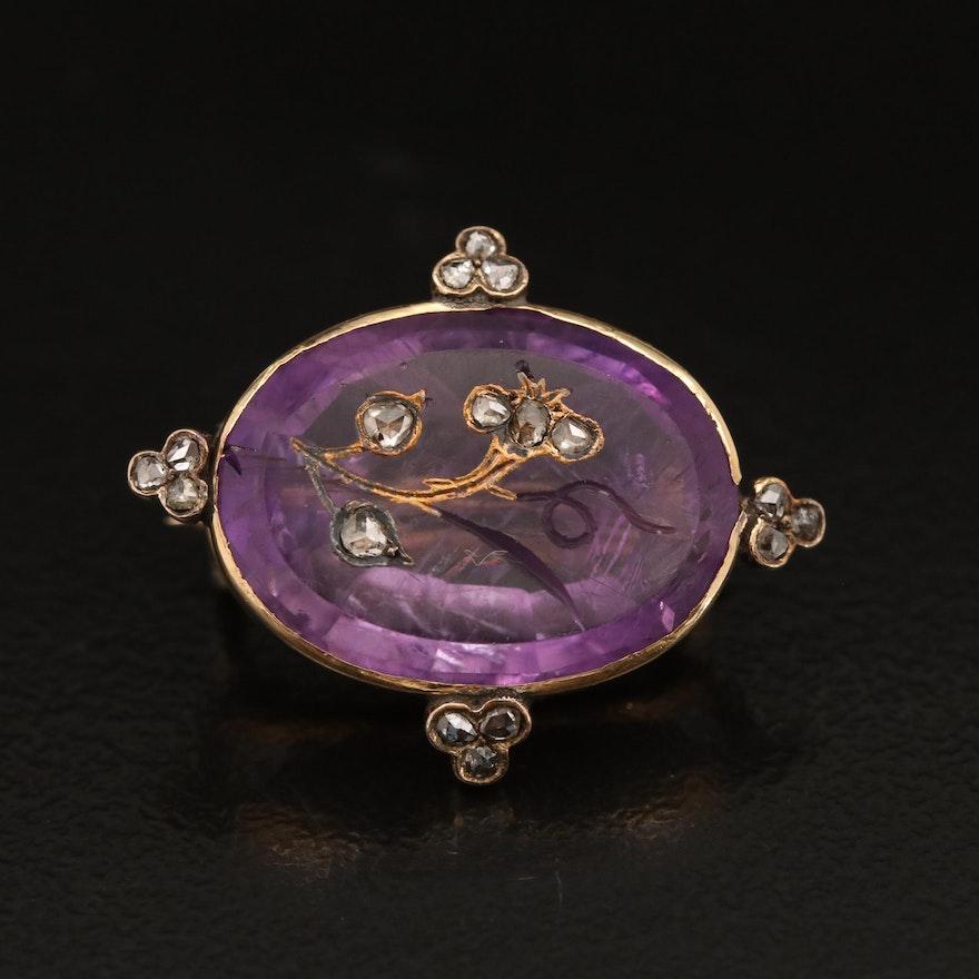 Victorian 18K Amethyst and Diamond Intaglio Brooch