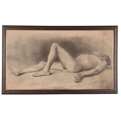 Large-Scale Figurative Charcoal Drawing of Reclining Male Nude, 1880