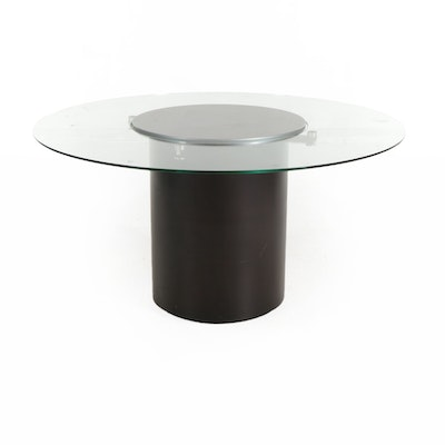 Contemporary Round Glass Top Lazy Susan Dining Table, 21st Century