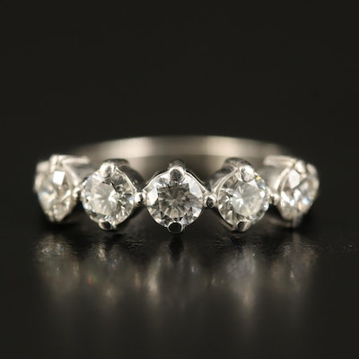 Platinum 1.00 CTW Diamond Five Stone Ring