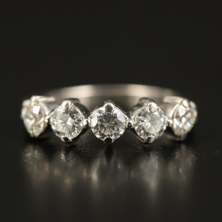 Platinum 1.00 CTW Diamond Five Stone Ring