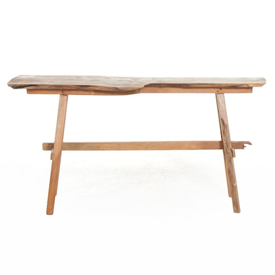 Contemporary Live Edge Walnut and Cherry Bench Made Hall Table, 2021