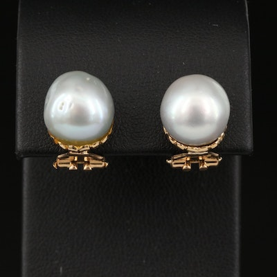 Vintage 18K Pearl Clip Earrings