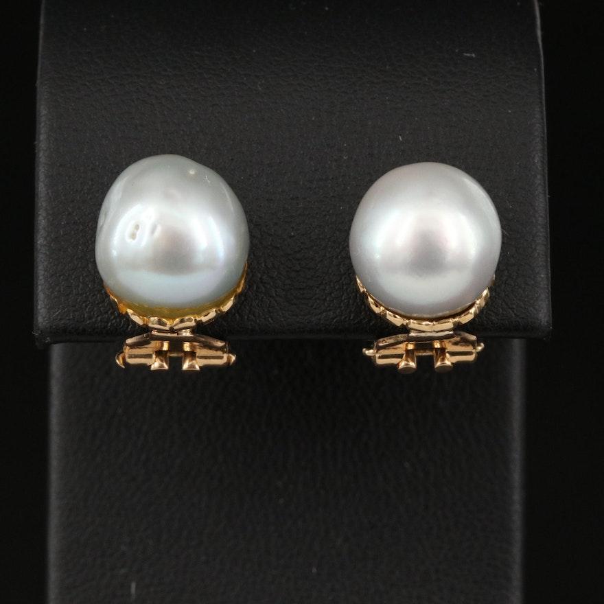 Vintage 18K Pearl Clip Earrings