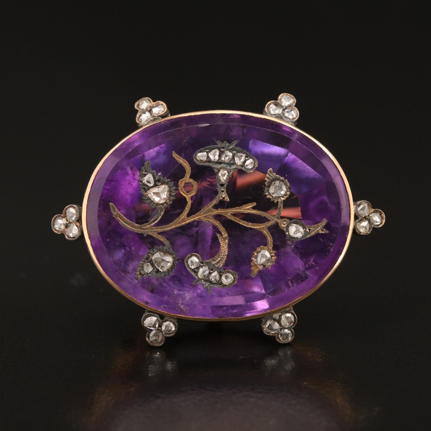 Victorian 18K 24.00 CT Amethyst and Diamond Foliate Brooch with Watch Hook