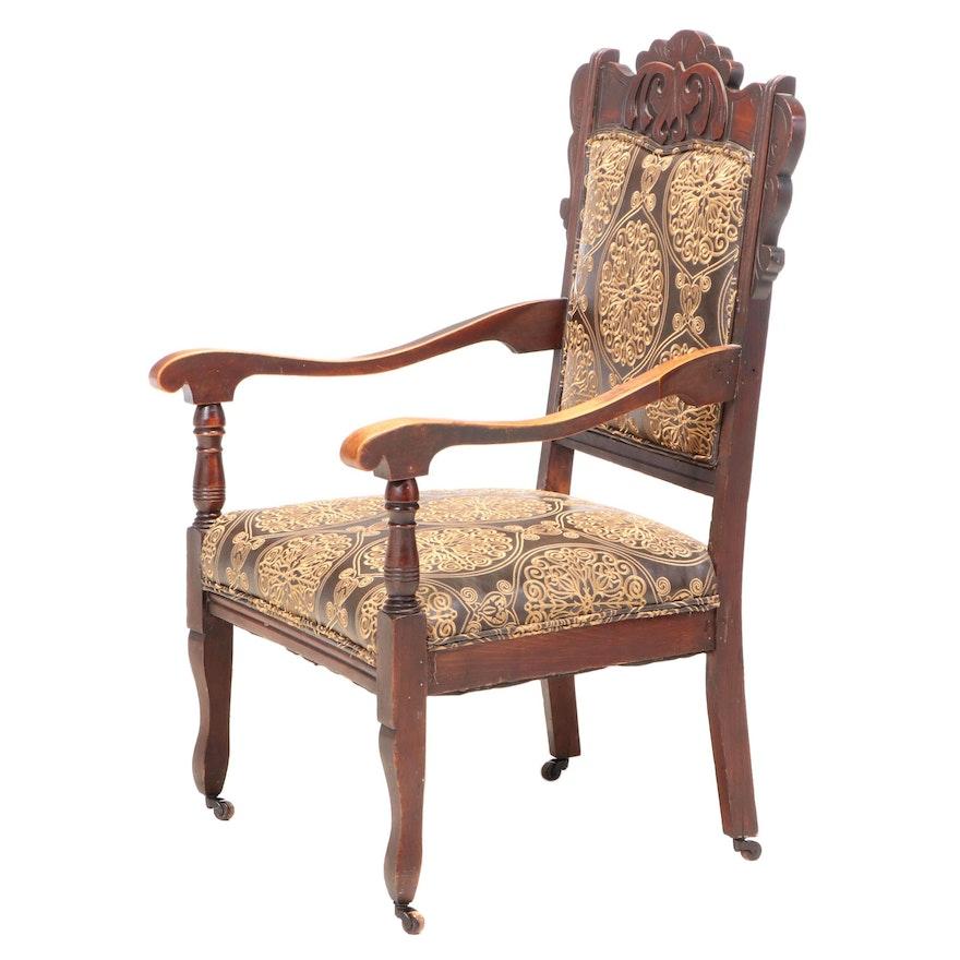 Late Victorian Birch Armchair in Embroidered Vinyl