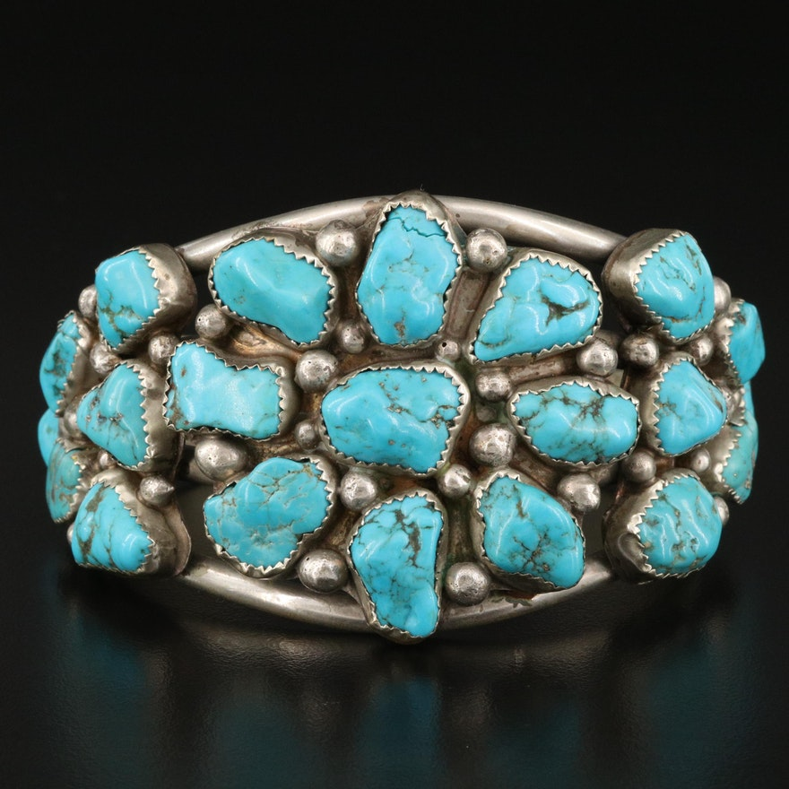 Southwestern Style Sterling Silver Turquoise Cluster Cuff