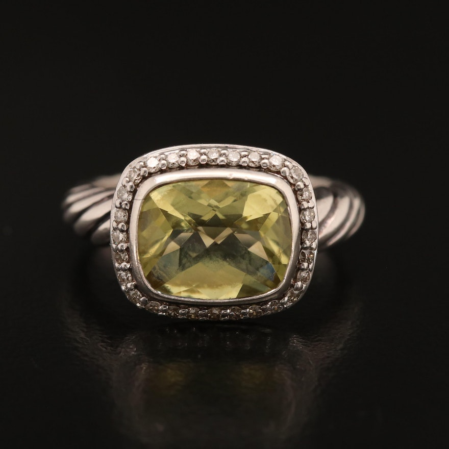 """David Yurman """"Noblesse"""" Sterling Citrine and Diamond Ring with Box"""