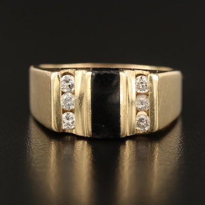 Vintage 14K Black Onyx and Diamond Ring