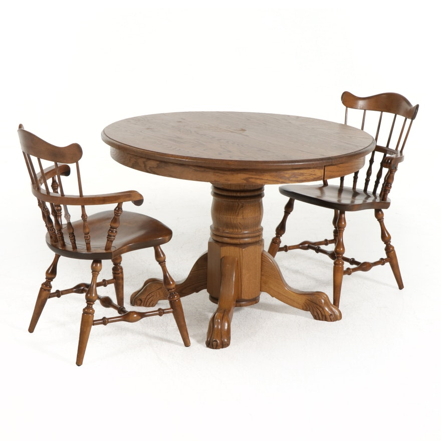 Pair of Nichols & Stone Co. Windsor Chairs with Oak Pedestal Dining Table