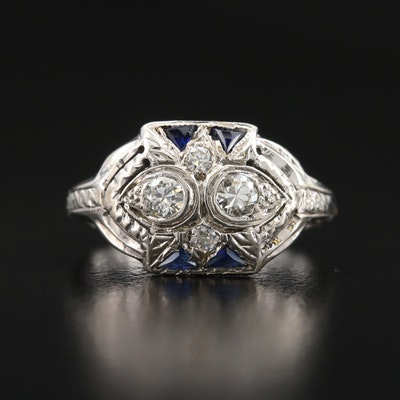 Art Deco 14K Diamond and Sapphire Ring